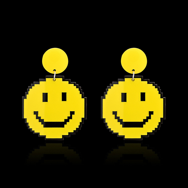 Cute womens smiley face pendant statement drop dangle earrings cute womens smiley face pendant statement drop dangle earrings party club jewelry brincos orecchini aretes wedding aloadofball