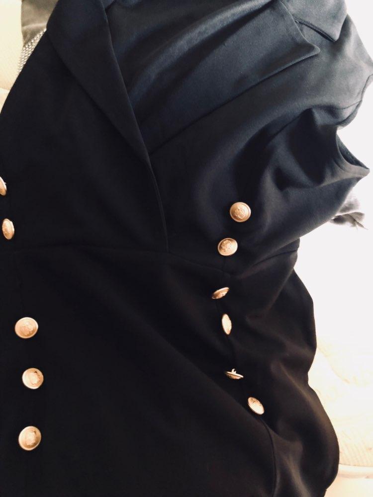 SHEIN Black Elegant Notched V Neck Double Button Sleeveless Pencil Knee-Length Skinny Dress Summer Women Sexy Workwear Dresses