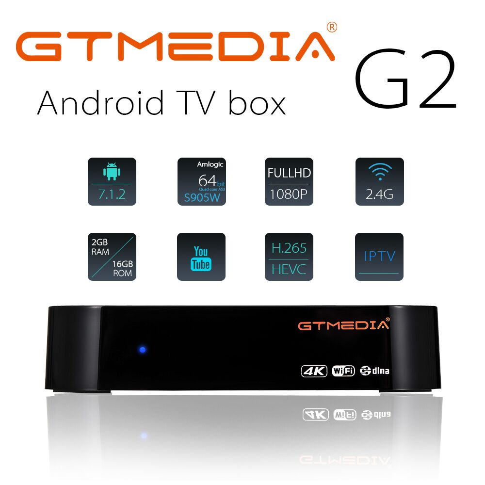 GTMEDIA G2 +IPTV FR DE TV BOX Android 7.1 OS Smart TV Box 2GB 16GB Amlogic S905W Quad Core 2.4GHz WiFi Set Top Box Pk X96 Mini