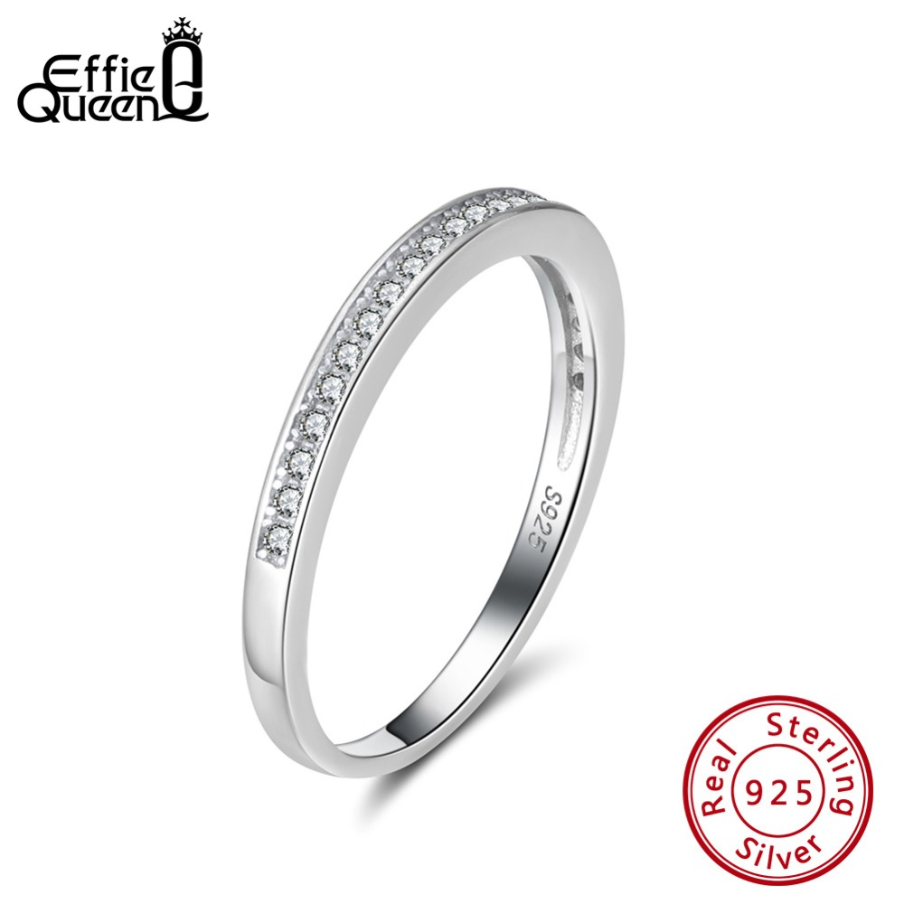 Effie Queen 925 Silver Rings For Women AAA Cubic Zircon Wedding Band Sterling Silver Finger Ring Jewelry Anillos Mujer BR136