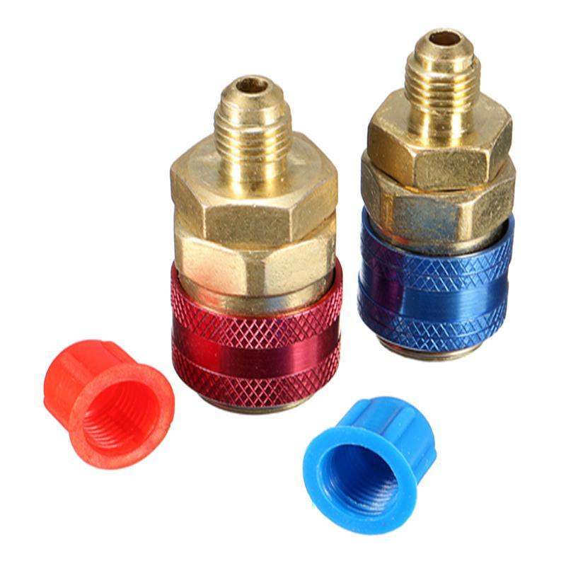 1 Pair of Car Auto Refrigerant AC R134A System Quick Couplers Connectors Adapter Plug 1/4 Flare Connectors [vk] 553602 1 50 pin champ latch plug screw connectors