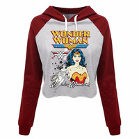 DC Comics Wonder Woman Classic Wome S Cropped Hoodies Merry Christmas Gift Crop Top Pullover Sweatshirt