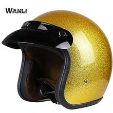 Hot Sale Unisex Vintage Motorcycle Helmets Open Face Half Motorbike  Helmet Capacete free shipping S M L XL XXL size gold color