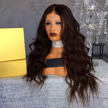 DLME 22inch Body Wave Natural Black Long Wig Synthetic Lace Front Wig With Baby Hair Heat