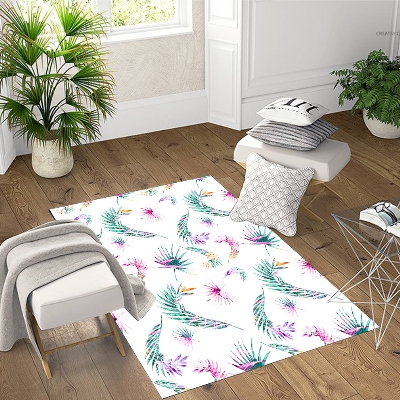 Else Green Purple Feathers Tropical 3d Print Non Slip Microfiber Living Room Decorative Modern Washable Area Rug Mat
