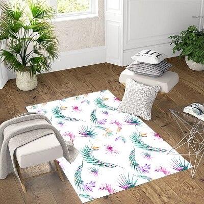 Else Green Purple Feathers Tropical 3d Print Non Slip Microfiber Living Room Decorative Modern Washable Area Rug Mat