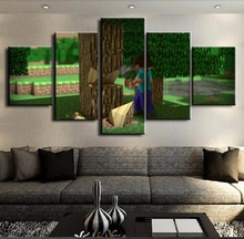 5 Panel Canvas Printed Pictures Minecraft Home Decoration Wall Art Game Poster Canvas Painting Artwork Modern Wall Decor Cuadros 5 pieces minecraft painting wall art modular pictures canvas printed modern artwork pictures wall decor game poster home decor