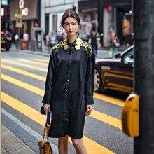 Высокое качество Для женщин длинные рубашки дизайнерские роскошные золотые цветы вышивка мягкая женщина черный макси свободные вечерние рубашки блузка NS710