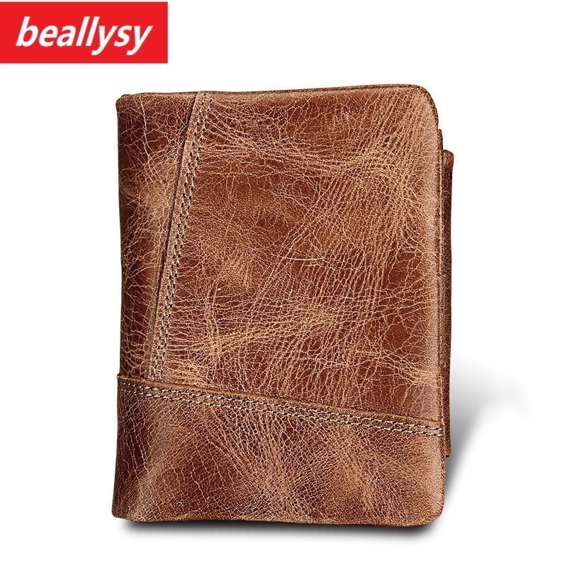 2018 New Design Slim Genuine Leather Mens Wallet Man Cowhide Cover Coin Purse Small Brand Male Credit&id Multifunctional Walets