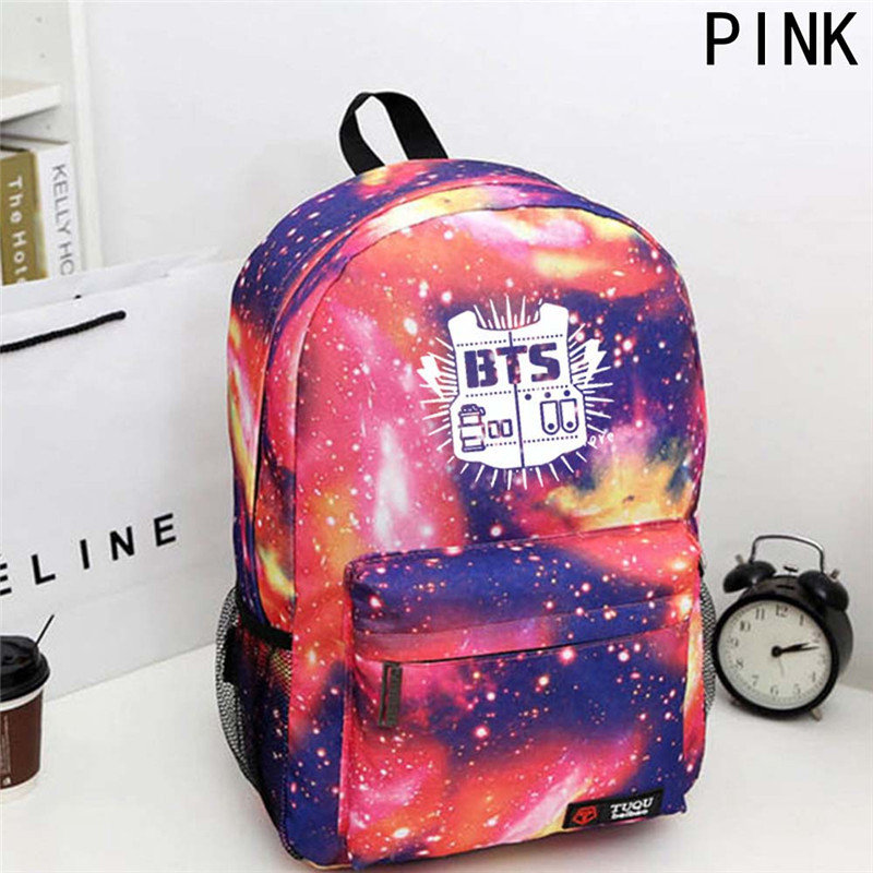 Hot Selling Teenager Backpack Korean Kpop Stars School Bag Boys Girls Canvas Book Laptop Backpacks