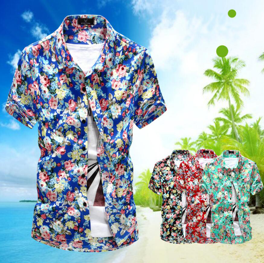 T-bird Shirt Men Printing Short sleeve Mens Dress ShirtsHigh Quality Spring Brand Casual Male Hawaii Shirt Camisa Masculina XXL