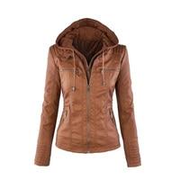 2017 Fashion Women S Faux Leather Jacket Coat Hoodies Hooded Lapel Zipper Detachable Jacket Coat For
