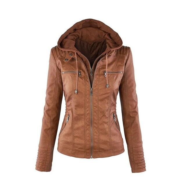 2017  Fashion Women's Faux Leather Jacket Coat Hoodies Hooded Lapel Zipper Detachable Jacket Coat for Female