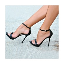 Women High Heels Sandals Gladiator Womens Black Ankle Strap Sexy Stiletto Office