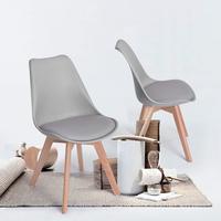 Набор из 2 тюльпанов обеденный/офисный стул с твердой древесины Буковые ножки, Eggree безрукавные мягкие дизайнерские стулья для дополнительн