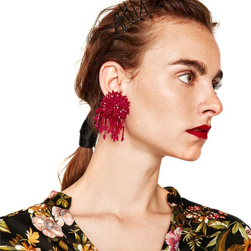 חדש בוהמי קריסטל פרח Drop עגילי Oorebllen 2019 מדרונות עגיל לנשים פרח עגילי הודי Tiffan בולגריה תכשיטים