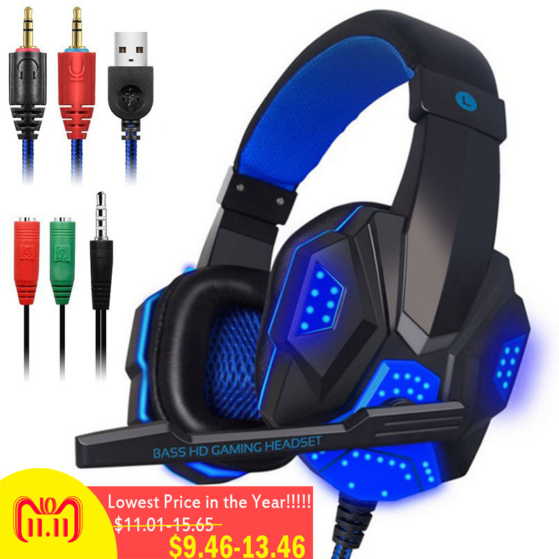3.5mm Earphone Gaming Headset Gamer PC Headphhone Gamer Stereo Gaming Headphone With Microphone Led For Computer somic g951 vibration headphone usb led wired gaming headphone headset gamer pc computer stereo surround with microphone