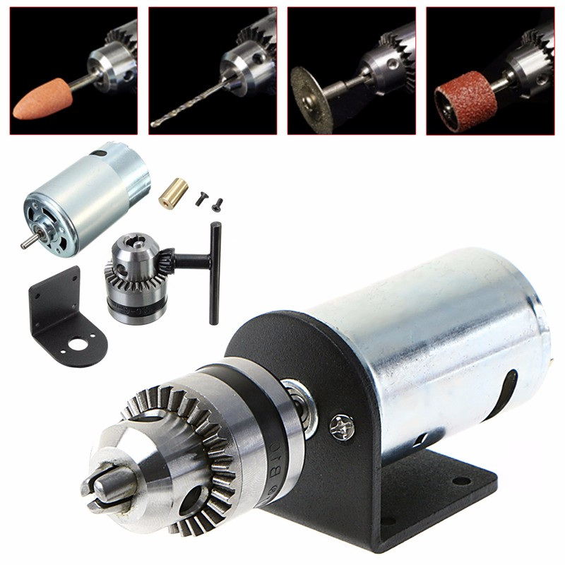 Mini Hand Bench Drill Lathe Press 555 Motor w/ 1/8 Chuck+ Mounting Bracket 12-36V MY17_30 76zy01 mig wire feeder motor dc24 1 8 18m min 0 8 1 0mm roll without bracket