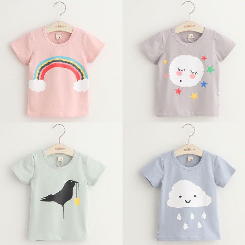 2018 летняя детская одежда для маленьких девочек, футболка с короткими рукавами с рисунком глаз, звезды, птицы, кота, оленя, кролика, животных для девочек|Тройники|   | АлиЭкспресс