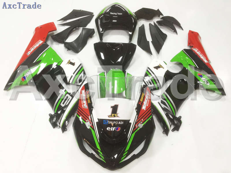 Motorcycle Fairings For Kawasaki Ninja ZX6R 636 ZX-6R 2005 2006 05 06 ABS Plastic Injection Fairing Bodywork Kit Green Black plastic fairings for kawasaki zx6r 2011 body kits 636 zx 6r 2010 2009 2012 white black bodywork zx6r 09 10