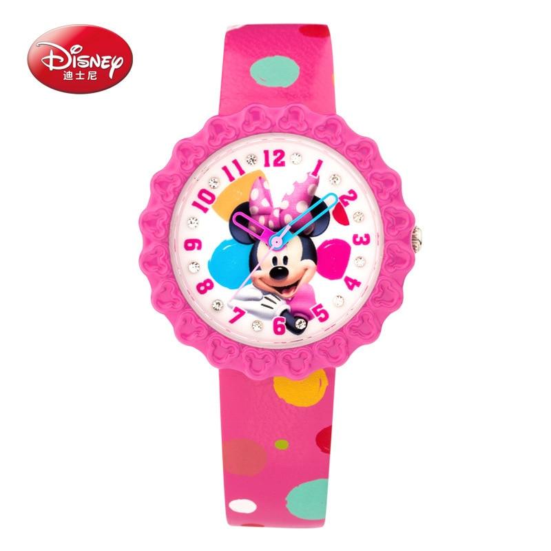 Disney marque boîte cadeau originale en cuir véritable montres à quartz enfants pour filles étudiants dessin animé mickey mouse étanche