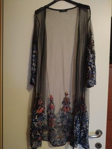 Boho Embroidered See Through Mesh Kimono Women Paisley 3/4 Sleeve Sheer Tribal Blouse Summer New Casual Long Kimono photo review