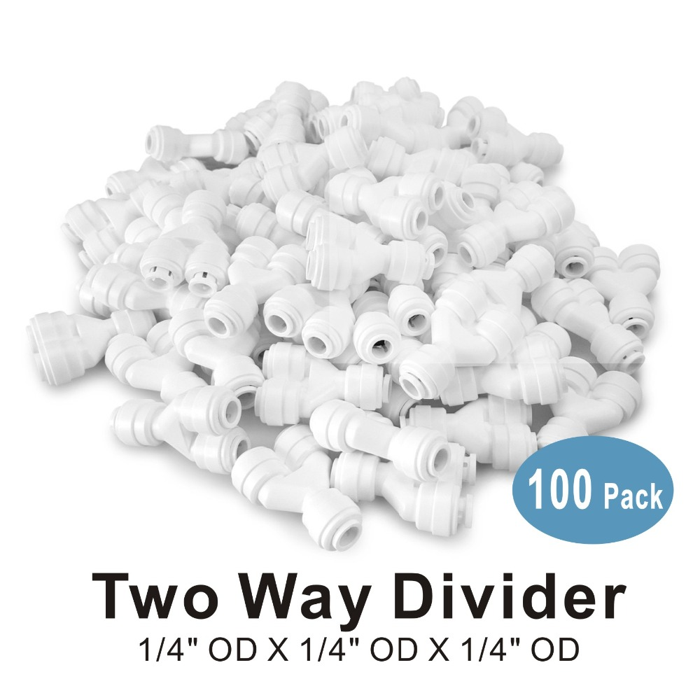 100 PACK OF Two Way Divider 1 4 quot Quick Fitting Connector for Water Filters and RO Reverse Osmosis Systems in Water Filter Parts from Home Appliances