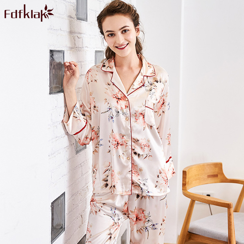 Fdfklak Retro print women's   pajamas     set   long sleeve silk sleepwear suit home clothes lounge nightwear women pijamas   sets