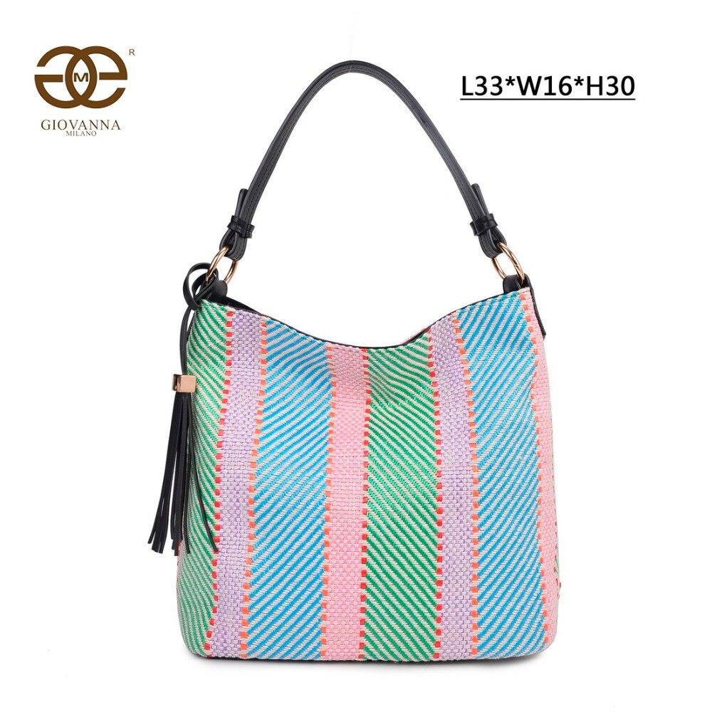 Giovanna Milano bolso mujer de hombro trenzado bolso de mano estilo hobo de lino multi-color cierre de cremallera diseño de marca famosa lujo G2169 1