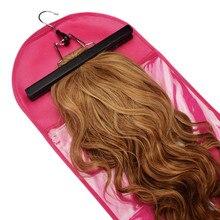1 шт. розовый/черный парик для наращивания волос сумка для хранения с вешалка для париков пыленепроницаемый защитный держатель для хранения париков аксессуары для укладки