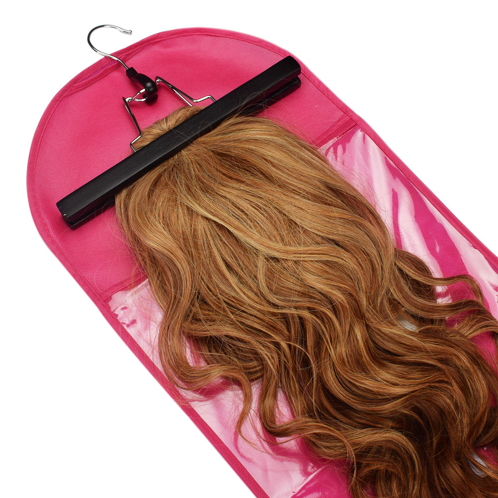 1pc Pink/Black Hair Extensions Wigs Storage Bag With Wig Hanger Dust Proof Protective Wig Storage Holder For Styling Accessories