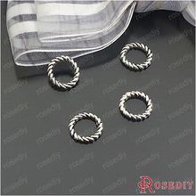 (24429-G)50PCS 10MM Antique Silver Plated Zinc Alloy Silver Charms Twisted Rings Diy Handmade Jewelry Findings Accessories
