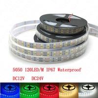 LED רצועת 5050 120 LED/m DC12V שפופרת סיליקון עמיד למים גמיש LED אור לבן חם לבן RGB 5 מטר\חבילה שורה הכפולה 5050 LED ברצועה