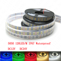 LED Strip 5050 120 LED M DC12V Silicone Tube Waterproof Flexible LED Light White Warm White