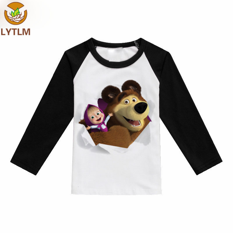 LYTLM Kids T-shirt 2018 New Autumn Girls Teens Long Sleeves Tops Masha and Bear T Shirt Fall Kids Girls Clothes Girls Shirts grey crossed front design cut out long sleeves t shirt