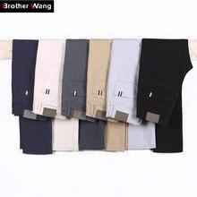 6 цветов, повседневные мужские брюки, весна, новинка, бизнес стиль, модные, повседневные эластичные прямые брюки, мужские, брендовые, серые, белые, хаки, темно-синие