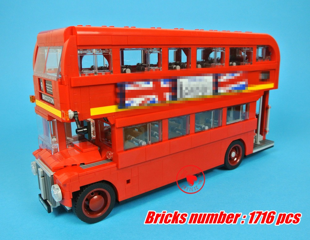 10258 Technic Series red London Bus fit legoings technic city bus model Building Blocks Bricks diy Toys 10258 gift kid toy lepin 21045 united kingdom britain london double decker bus building kit blocks bricks toy for gift 10258