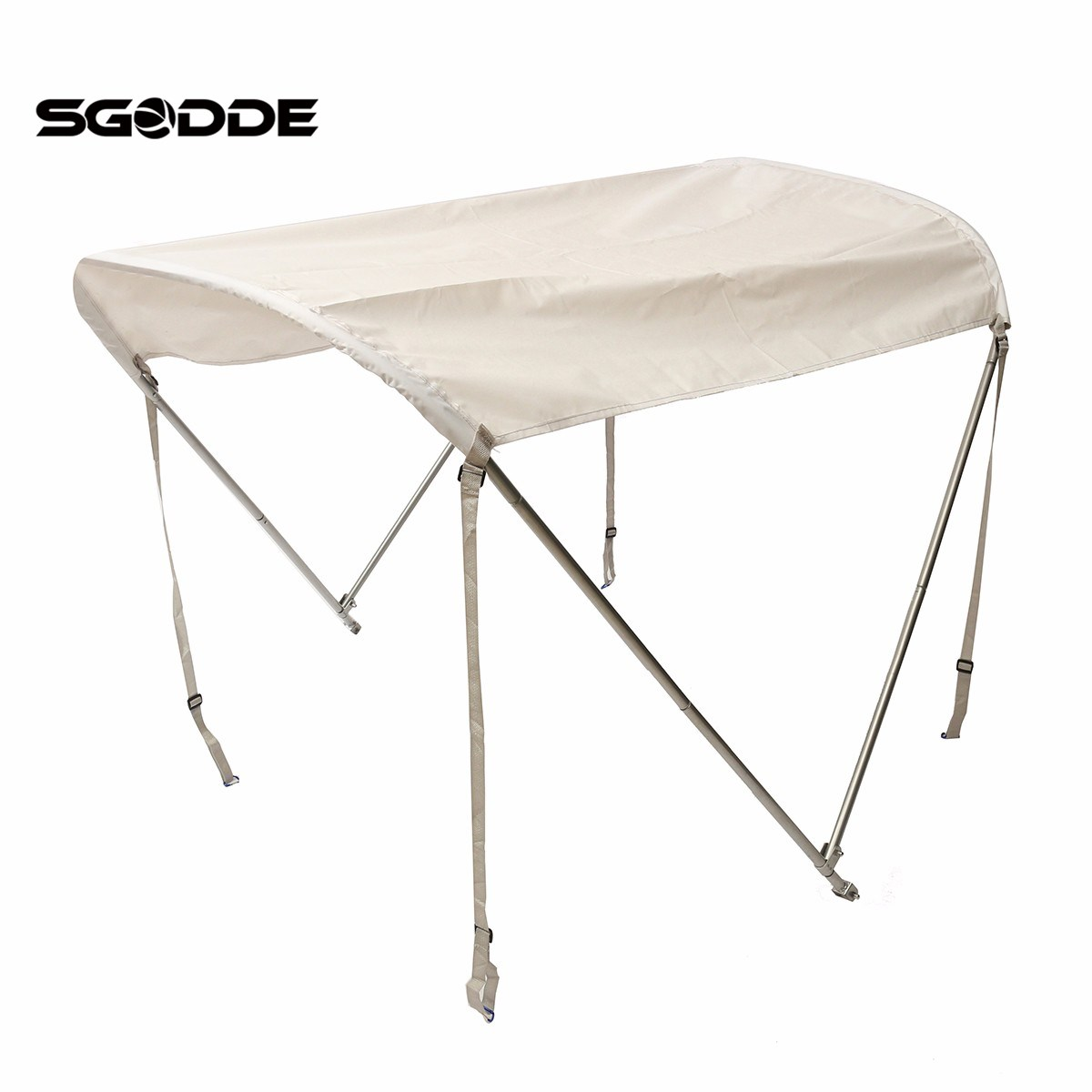SGODDE 2 Bow Anti-UV Canopy Top Cover 46Hx5'L + Aluminum Tubes Straps For 45-63 Boat Outdoor inflatable boat Cover Tools