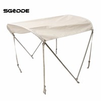 SGODDE 2 Bow Anti UV Canopy Top Cover 46Hx5'L + Aluminum Tubes Straps For 45 63 Boat Outdoor inflatable boat Cover Tools
