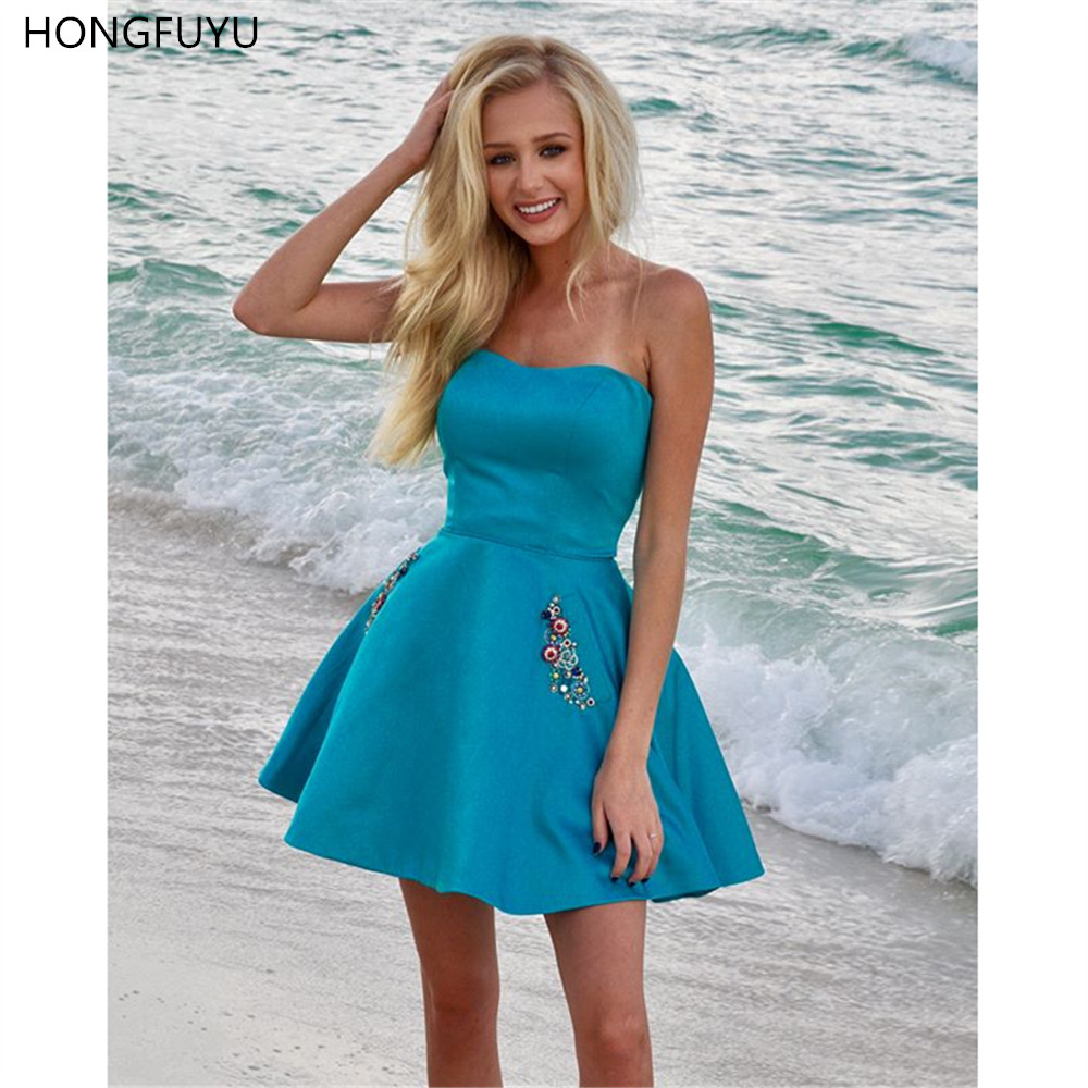 HONGFUYU A-line Mini Homecoming Cocktail Dresses Short Jewel Pockets Prom Dress Summer Beach Satin Special Occasion Party Dress