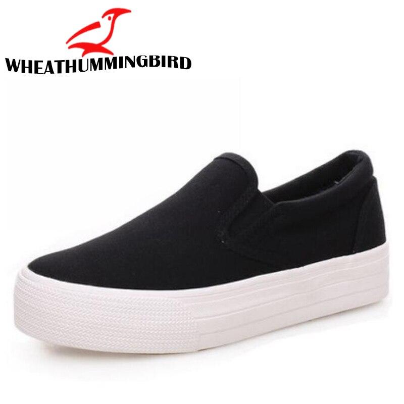 Women Flats Shoes New 2018 Women low Canvas Shoes Solid Color wedges platform Shoes Women Casual Shoes Flats White Black LC-71