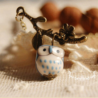 Lovely Ceramic Twig Owl Necklaces & Pendants For Women 2017 Handmade Vintage Jewelry Girl Accessories