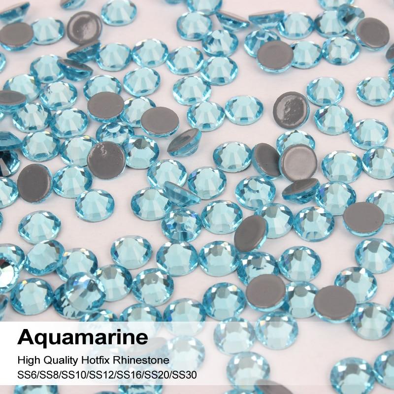 Aquamarine 1440pcs/lot All Sizes High Quality Flatback Hotfix Crystal Strass With Strongly Glue Rhinestones On Clothing