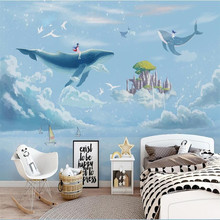 Modern large decorative painting Hand painted watercolor creative sky whale children room mural backdrop