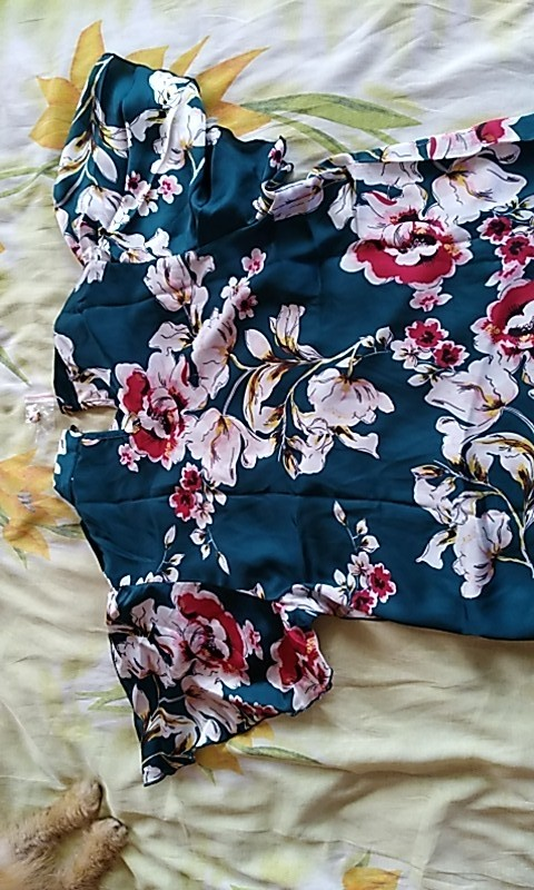 Stand Collar Keyhole Back Floral Blouse Shirt Summer Butterfly Sleeve Workwear Blouse Elegant Women Clothing photo review