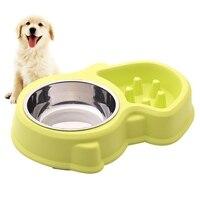 Pet Cão Dupla Tigela Conjunto Alimentador de Aço Inoxidável Utensílios de Cozinha Gato Fonte de água potável Food Dish Pet Bacia Do Cão Azul Rosa do animal de Estimação suprimentos