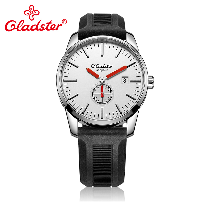 Gladster Luxury Japan MIYOTA GP11 3H Sports Silicone Male Watch Calendar Gentleman Quartz Clock Sapphire Crystal
