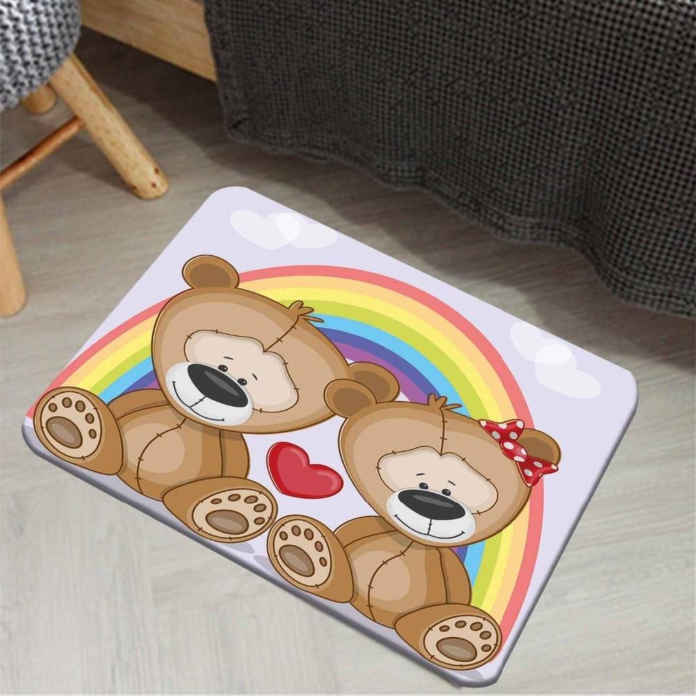 Else Rainbow Red Hearts Cute Teddy Bears Animals 3d Cartoon Print Anti Slip Doormat Home Decor Entryway Kids Children Room Mat