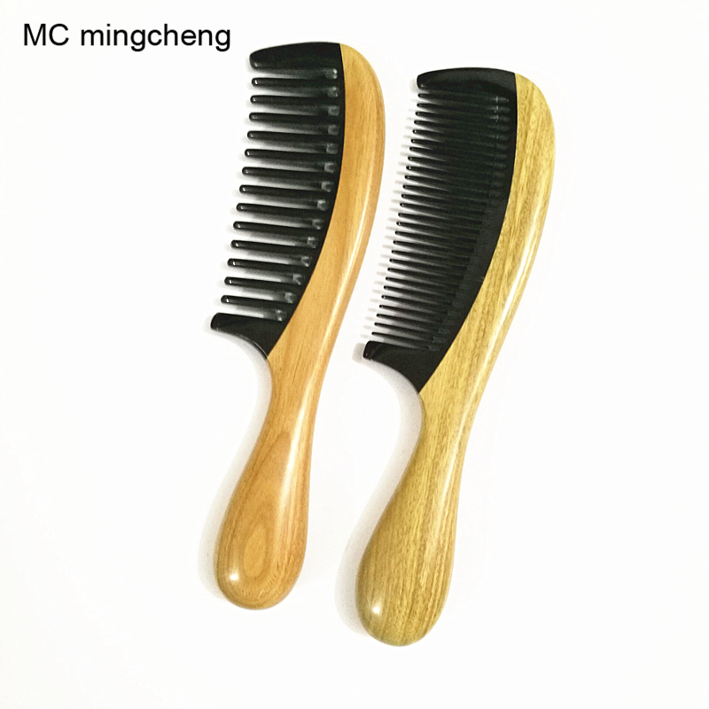 MC Brand 18cm Black Ox Horn Green Sandalwood Comb Health Natural Wooden Handle Combs Hair Style Designer Professional For Ladies