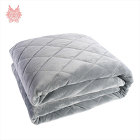 Grey plaid quilted fleece gravity blanket duvet cover for Anxiety, Insomnia Stress Premium Various people great sleep SP5450